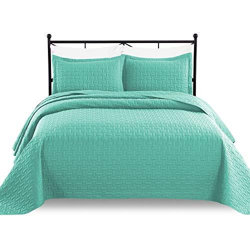 Luxe Betten 3Oversize Gesteppte Tagesdecke Decke Set, Mikrofaser, türkis, Full/Queen (Queen-bett-sets, Türkis)