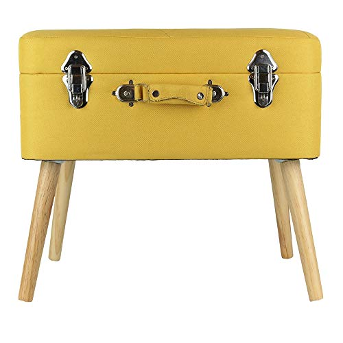 The Home Deco Factory baúl Maleta, Madera, Amarillo, 50,5 x 36 x 45