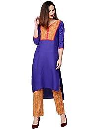 Jaipur Kurti Women Blue & Mustard Solid Straight Cotton Kurta With Palazzo