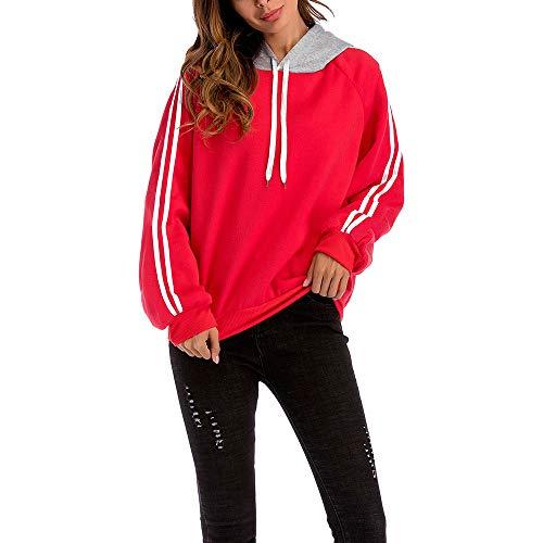 8c12edbcb Sudadera con Estampado de Mujer, SunGren Las a Rayas Sueltas de Manga Larga  Blusa con Estampado de Rayas en Color Camisa(Rojo,M)