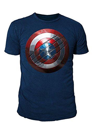 ain America Herren T-Shirt - Civil War Shield Logo (Navy) (S-XL) (XL) (Captain America Gürtel)