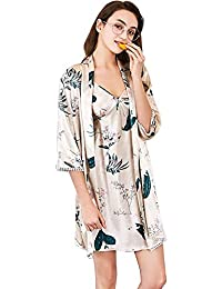 Mujer Pijama Primavera Otoño Satín Camisones Cardigan Dos Piezas Vestidos Mode De Marca Estampadas Mangas 3