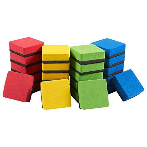 Magnetischer Whiteboard-Radiergummi - magnetischer Radiergummi für trocken abwischbare Stifte und Marker, ideal für Kinder, Zuhause, Schule und Büro, verschiedene Farben, 5 x 5 cm, 24 Stück
