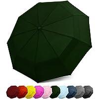 Paraguas EEZ-Y Compacto para Viajes con Doble Cubierta Resistente al Viento – Botón de