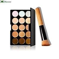 Bluester 15 Colors Makeup Concealer Contour Palette + Water Sponge Puff + Makeup Brush