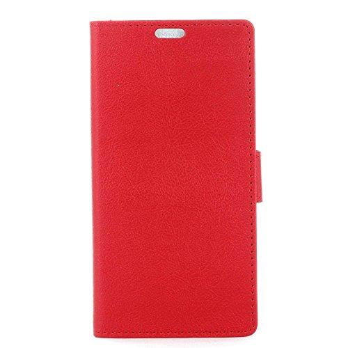Hülle Doogee X60L, Ledertasche Ultra Dünn [Magnetverschluss] Kartenfach Tasche PU Leder Klapphülle Wallet Handyhülle mit Standfunktion Flip Schutzhülle Schale Red