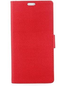zl one Funda Samsung J7 Plus/C8/C7 2017,Bookstyle PU Cuero cartera para TPU Silicone Case Cover -Rojo