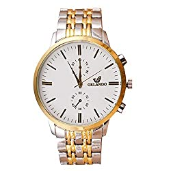 Souarts Herren Armbanduhr Männer Gold Silber Farbe Edelstahl Schwarz Weiss Zifferblatt Analog Quarzuhr Herrenuhr mit Batterie