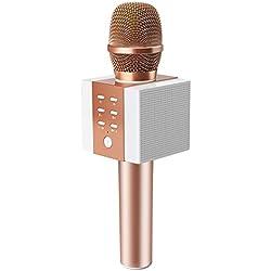 TOSING 008 Micrófono de Karaoke Inalámbrico Bluetooth, Potencia de Volumen Más Alta 10W, Más Bajo, 3-en-1 Máquina de Micrófono Portátil de Altavoz Portátil para iPhone/Android/iPad/PC (rose gold)