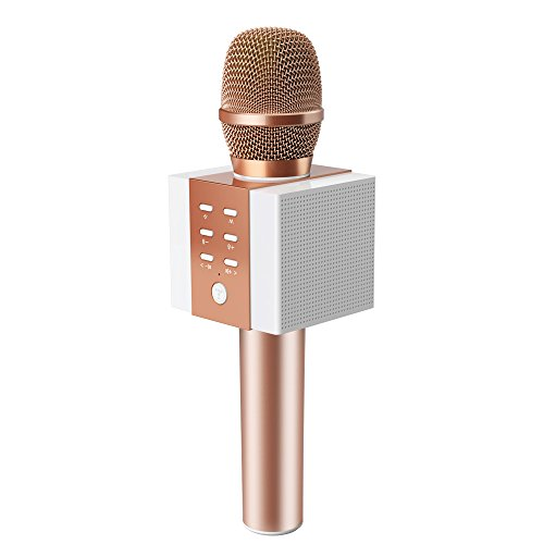 TOSING 008 drahtloses Bluetooth Karaokemikrofon, lauteres Volumen 10W Energie, mehr Baß, 3-in-1 beweglicher Handdoppeltsprecher-Mic-Maschine für iPhone/Android/iPad/PC (rose gold) (Karaoke Singen)