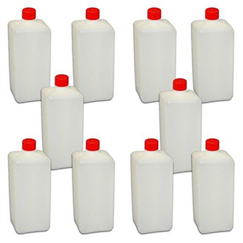10 x 1000 ml Abfüllflasche mit Deckel und Dichtung *Plastikflasche zum abfüllen von Flüssigkeiten* Lotionflasche eckig weiss NEU