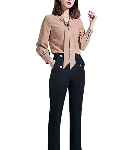 Nanxson TM Chemisier Femmes Blouse OL Manches Longues Col avec Cravate Épais Chaud CSW0047 Kaki