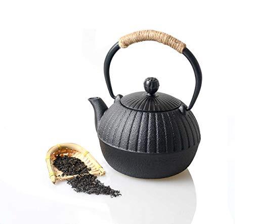 HwaGui-Petite théière Fonte Bouilloire en Fonte Noire Conception de Citrouille, 0,5L/500ml