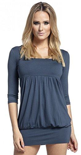 Glamour Empire. Damen Tunika-Kleid Ballonsaum 3/4 Ärmeln Eckigem Ausschnitt. 954 Blau Grau