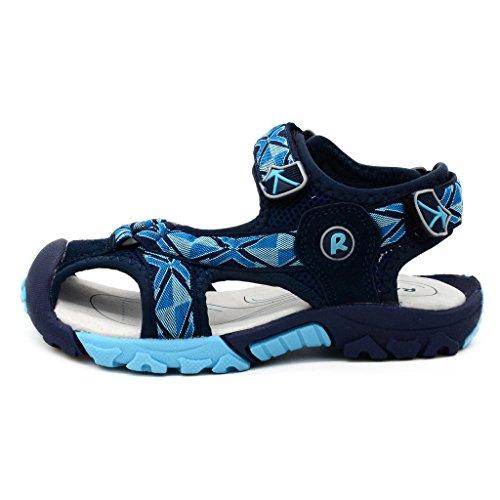 Bwiv sandali a strappo bambino con solette foderate di pelle sandali da spiaggia durevoli ragazzo delle taglie 24,5-38 EU Blu scuro