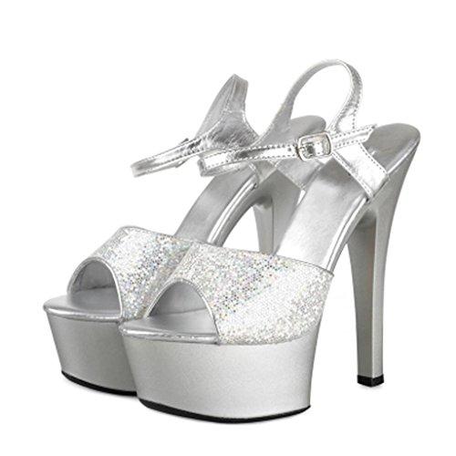 W&LMPiattaforma impermeabile Spessore inferiore sandali Tacchi alti Scarpe Alto tacco alto Modello Scarpe 15cm Silver