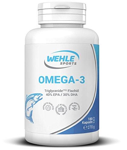 Omega 3 Kapseln hochdosiert (Einführungspreis) Triglyceride Fischöl - 180 Fish Oil Softgel 400mg EPA 300mg DHA ohne Zusätze Omega-3 Fettsäuren - Wehle Sports (Sport-Öl)