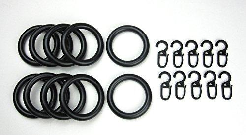 Gardinenringe/Vorhangringe mit Faltenhaken, Ringe für Gardinenstangen/Vorhangstangen - 10 Stück Kunststoff - Ø 39 x 55 mm - schwarz