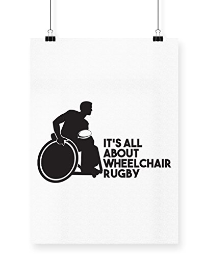 hippowarehouse IT 'S ALL ABOUT Rollstuhl Rugby Poster Druck Wall Art Design A4 weiß (Walk T-shirt Off)