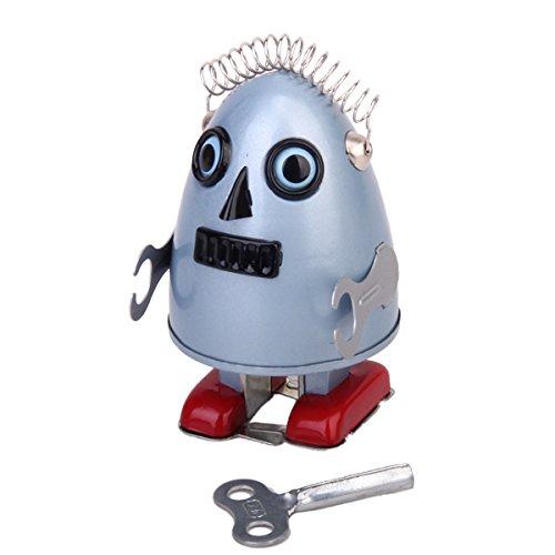 Cuerda-La-Forma-Del-Huevo-Robot-De-Juguete-De-Regalo-De-Coleccion-Con-El-Wind-up-Key-Gris-Azulado