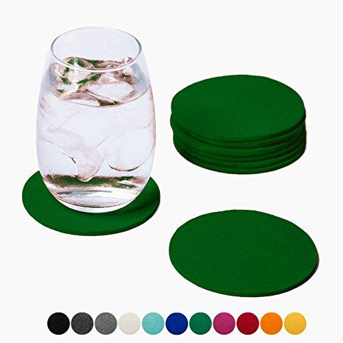 Smacc Filzuntersetzer, rund 8er Set (Farbe wählbar) - Glasuntersetzer aus 100% Wollfilz, Untersetzer für Bar und Tisch Einrichtungsideen als Tischdeko (Grün) (ökologische Wasser-flasche)