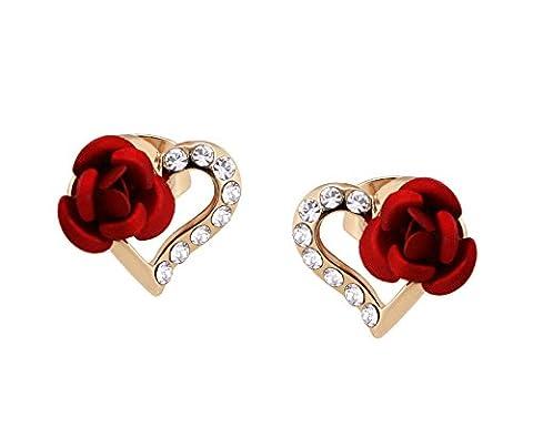 Yoursfs Boucles d'oreilles clous plaqué Or Cristal forme de Coeur et Rose rouge fantaisie pour (Cuore Rosa Orecchini)