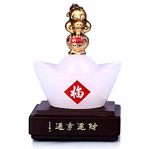 Crafts Glass Lucky Decoration Opened gift Home Decoration Wooden base Zodiac mouse animal Business Office Move decoration