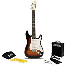RockJam RJEG02-SK-SB Full Size Electric Guitar Superkit with Guitar Amplifier Guitar Strings Guitar Strap Guitar Bag and Guitar Cable Sunburst