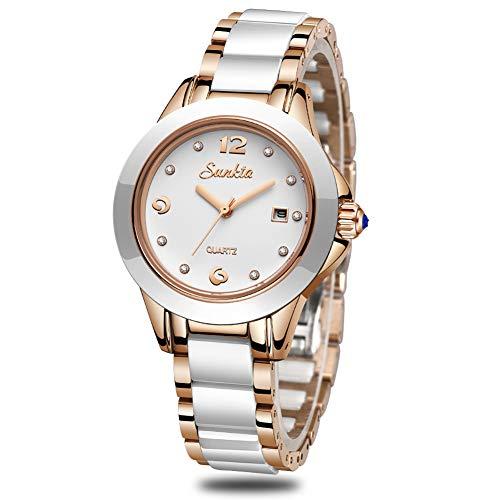 Damen Mode Weiß Analog Quarz SUNKTA Uhren Edelstahl Wasserdicht Uhr mit Keramik Band Datumsfenster Damen Geschäft Beiläufig Armbanduhr Keramik-band