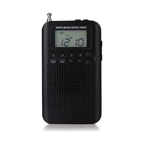 beautygoods Radio Am FM portátil de Bolsillo, Pantalla Digital estéreo con Bolsillo para Deportes, para Caminar Senderismo Camping con batería de 2AAA, Buena selectividad, Ahorro de energía
