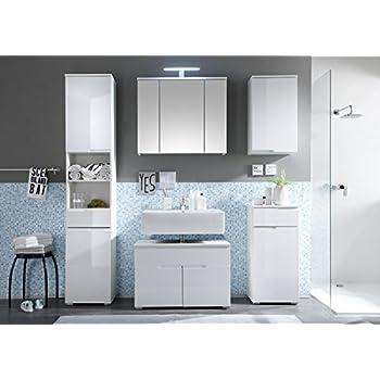 Badmöbel weiss stehend  Badmöbel Set SPICE 5-tlg Bad Badschrank Badezimmer in Hochglanz ...