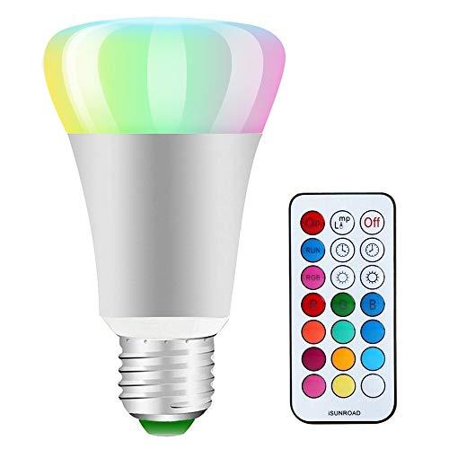 LED RGB Lampe, Macrimo 10W A19 E27 Base Dimmbare Birne mit Fernbedienung, Kaltweißem Licht, RGB + Weiß, [Energieklasse A++] - A19 Birne