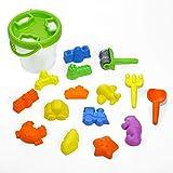 Shinehalo 16 Stück Strand Sand Spielzeug-Set, Sand Modelle und Eimer, Schaufeln, Rechen, Fahrzeuge, Meerestiere, Schloss Formen, Dinosaurier Fossil für Kinder, Bunt