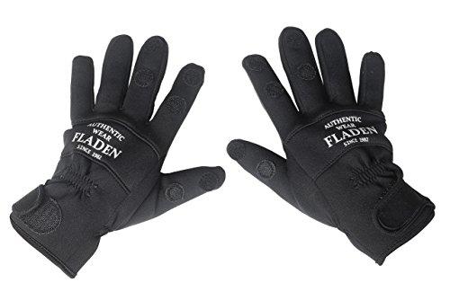 Fladen Herren Neopren-Handschuhe mit gespaltenen Fingern, schwarz, L (Neopren-angeln-handschuh)