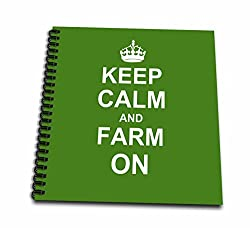 3dRose Keep Calm and Farm on - Carry on Farming - Gift for Farmers - Green Motivational Motivating Calming - Mini Notepad, 4 by 4-inch