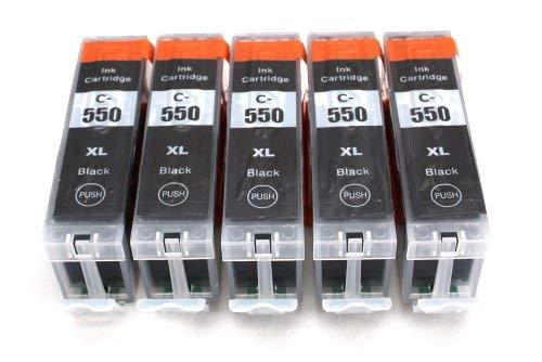 5er Set Druckerpatronen kompatibel zu Canon PGI-550 XL / schwarz / geeignet für CANON Pixma iX6850 / iP7250 / iP8750 / MG5450 / MG5550 / MG6350 / MG6450 / MG7150 / MX725 / MX925