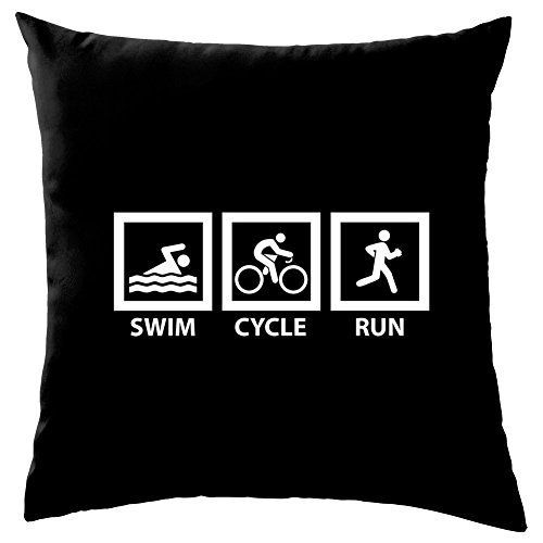 Dressdown Swim Cycle Run - Dekokissen 41 x 41 cm - Schwarz