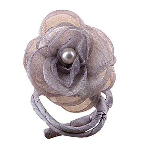 TININNA Frauen Damen Blume Haar Chignon Bun Donut Shapers Knotenring Duttkissen Haarknoten Knotenrolle Haarschmuck Grau