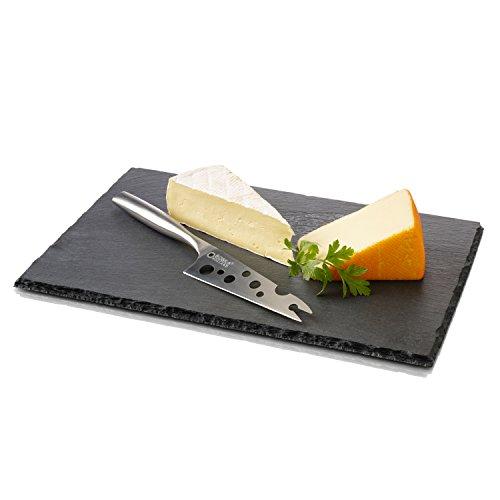 BOSKA Käsebrett Cheesy mit Messer Größe L, Stein, schwarz, 33 x 24 x 2 cm -