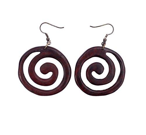 4e873333fc53 Khussa KHJW-130 - Pendientes redondos de madera para mujer