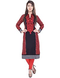 The Style Story Red Embroidered Kurti