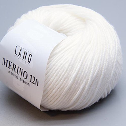 LANG YARNS Merino 120 - Farbe: Weiss (0001) - 50 g / ca. 120 m Wolle -