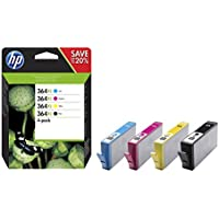HP 364XL 4-pack High Yield Black/Cyan/Magenta/Yellow Original Ink Cartridges (N9J74AE)