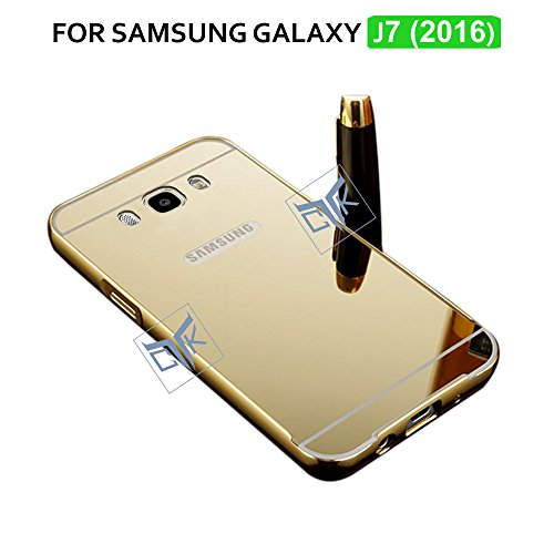 TGK ULTRA Premium Luxury Metal Bumper Acrylic Mirror Back Cover For Samsung Galaxy J7 - 6 (New 2016 Edition - J710) - Golden (Not Compatible with Samsung Galaxy J7 - J700)