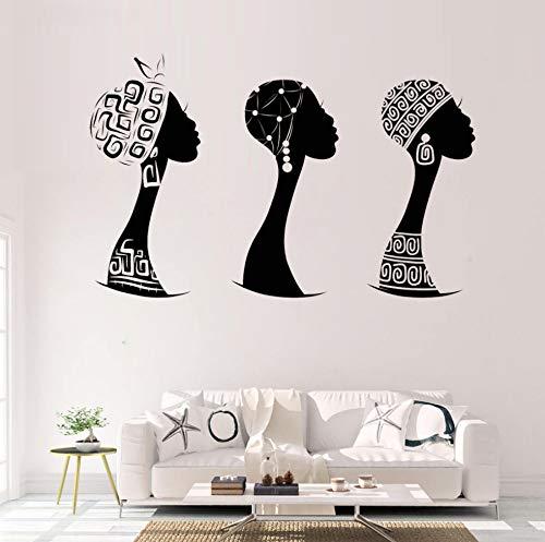 Wandaufkleber Kinderzimmer Afrikanische Frau Profil Vinyl Home Decoration Schwarze Frau Silhouette Blume Abnehmbare Applique Wandbild S462