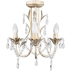 MiniSun - Lámpara araña 'Odelia' vintage - 3 luces y decorada en crema y gotas acrílicas