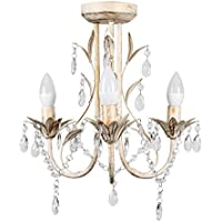 MiniSun – Lámpara araña 'Odelia' vintage - 3 luces y decorada en crema y gotas acrílicas