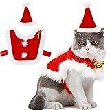 Weihnachten Haustier Anzug, Outgeek verstellbarer Umhang für Santa Cat Santa Kleidung mit Glocken Weihnachts-Outfit für Hunde und Kätzchen Süßes Geschenk