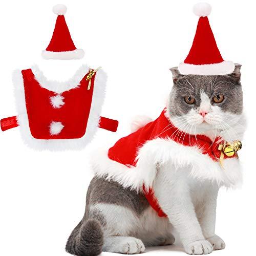 Outgeek Costume Natale Gatto Abiti da Babbo Natale Regolabili per Animali da Compagnia con Campane Vestito Natalizio per Cani e Regalo Dolce per