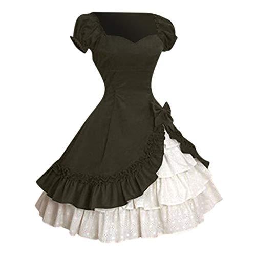 Aoogo Damen Kleider Groß Größe Gothic Court Spitze Kleider Großes Pendel Bow Rüschen Vintage Kleid Cosplay Kostüm Outfit - Coca Cola Kleid Kostüm